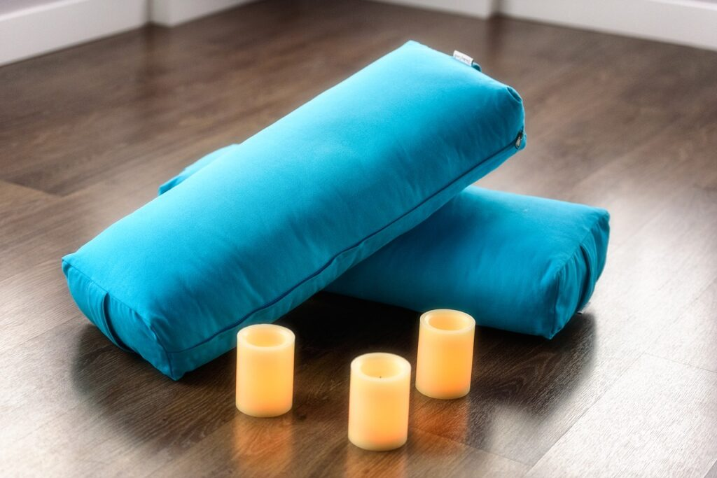yoga, bolster, candle